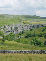 Sherrif Hill cairn (centre right) above Malham Cove